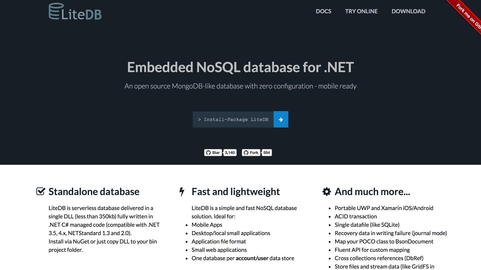 LiteDb NoSql database - BuiltWithDot Net